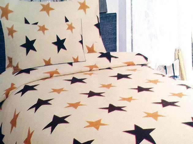 2 db SMARTEX 3 részes Stars ágynemű garnitúra  + hozzá tartozó Jersey/gumis lepedő 200x230 cm-es méretben