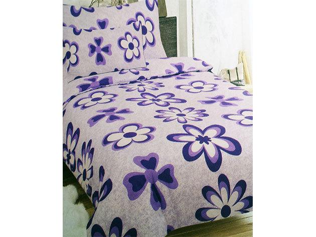 2 db SMARTEX 3 részes Flanell Purple Flowers ágynemű garnitúra  + hozzá tartozó Jersey/gumis lepedő 200x230 cm-es méretben