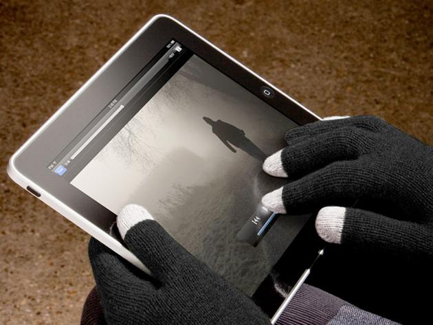 Kapacitív kesztyű kék színben érintőkijelzős készülékekhez, 3 ujján speciális borítással