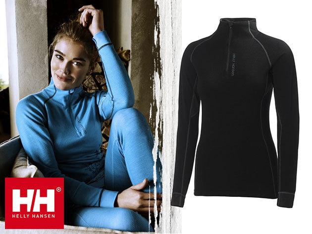 Helly Hansen W HH WARM FLOW HIGH NECK 1/2 ZIP női aláöltözet felsőrész - Lifa® Stay Dry technológia, 100%-os tisztaságú merinó gyapjú és technikai anyag kombinációja