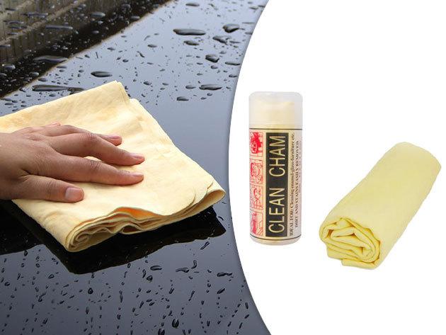 Szintetikus szarvasbőr kendő autóápoláshoz, ablaktisztításhoz vagy kényes felület tisztításához - rendkívül jó nedvszívó, nem szöszölős, szakadás- és oldószerálló kendő (43x32 cm)