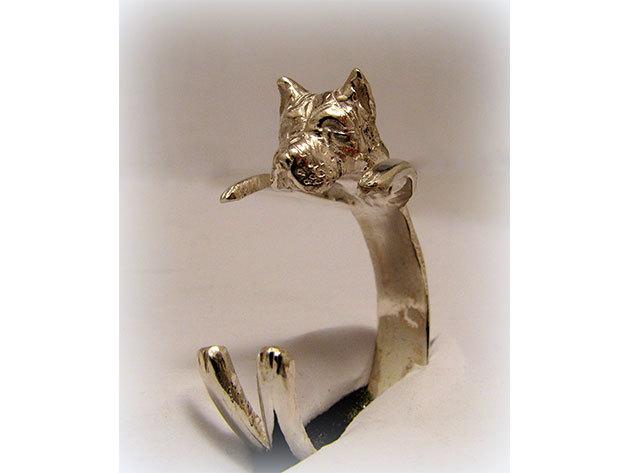 Kutyás ezüst gyűrű - staffordshire terrier
