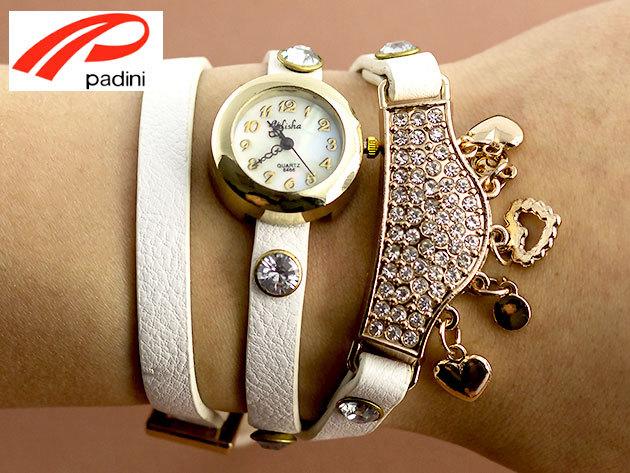 Karkötő óra csillogó strasszköves díszítéssel - fehér szíjon óraház, illetve egyéb nőies dekorelemek