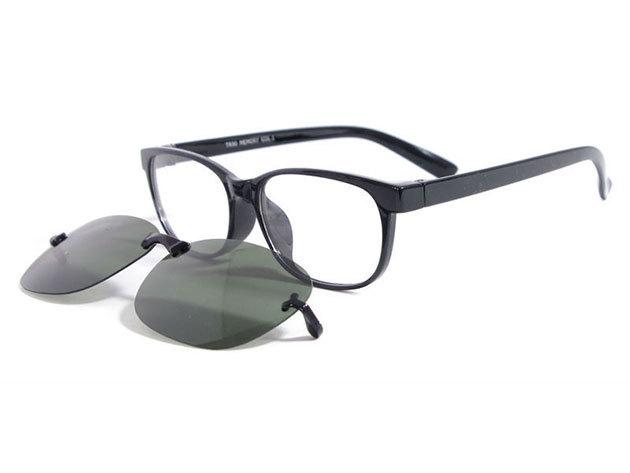 Speciális Clip-on szemüveg, 1,5-ös törésmutatójú lencsével, polarizált (napszemüveg) mágneses előtéttel + választahtó márkás keret / Totál Optika