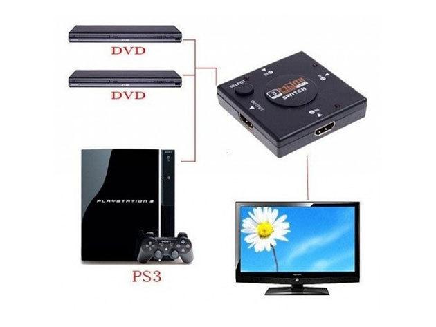 HDMI switcher elosztó 3 port-tal / DVD lejátszót, laptopot... stb. is csatlakoztathatsz a TV-hez egyszerre