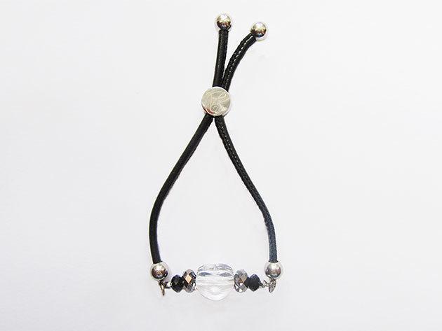 Aistikas Trust' fekete bőr állítható szerelem karkötő, eredeti Swarovski kristályokkal, ezüst bevonatú fém részekkel