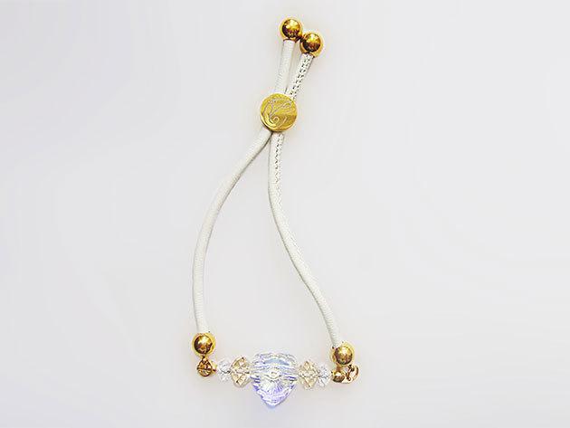 Aistikas Hope' fehér bőr állítható szerelem karkötő, eredeti Swarovski kristályokkal, 14 karátos arany bevonattal