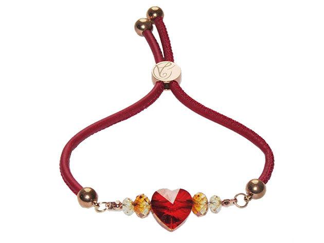 Aistikas Dream' bordó bőr állítható szerelem karkötő, eredeti Swarovski kristályokkal, 14 karátos rózsaarany bevonattal