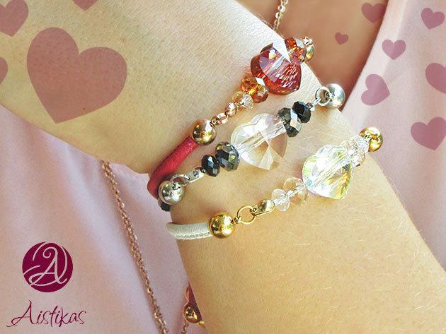 Szerelem karkötők az Aistikastól Swarovski kristályokkal és 14K arany bevonatú gyöngyökkel - Lepd meg vele kedvesedet, hölgyismerőseidet!