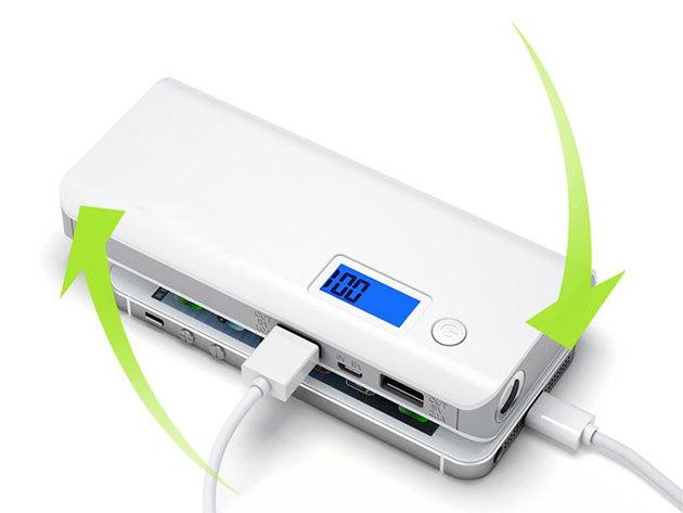 Powerbank Monster - 12000mah teljesítmény, LCD kijelzővel, szürke színben
