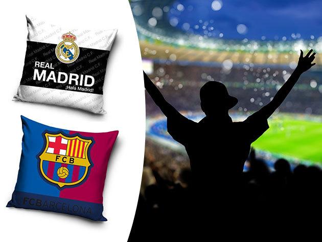 Foci szurkolói párna - Barcelona, Juventus, Real Madrid... stb. 40x40 cm-es méretben, pamut huzattal