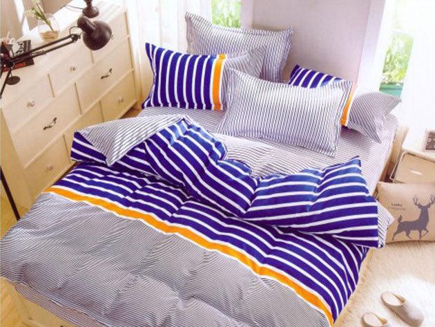 Kék csíkos puhaság - 7 részes ágynemű garnitúra