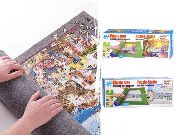 Puzzle szőnyeg ajándék 1000 db-os kirakóssal / ha félbe kell hagynod a játékot, csak tekerd fel és biztonságban lesz