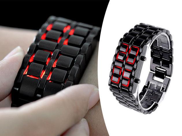 Samurai LED karóra - strapabíró fém szerkezet, LED dátum és időkijezés, egyedi dizájn, fekete színben