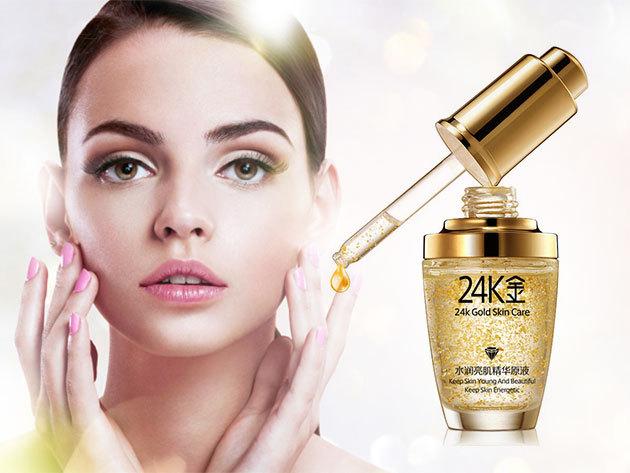 Arany szérum! A tiszta arany segít a kollagént helyreállítani, védi a bőrt a szennyeződés, UV káros sugarak ellen, miközben segít vérkeringést növelni és kiválóan megköti a nedvességet!