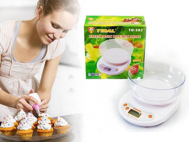 Digitális konyhai mérleg (Tidal) - vízálló kijelző és gombok, méréshatár: 7 kg, automatikus kikapcsolás