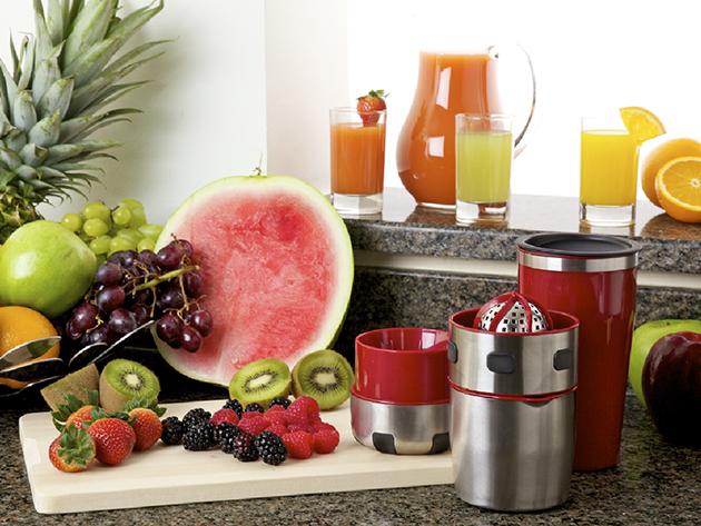 PRO-V JUICER rozsdamentes gyümölcsfacsaró, shaker és dekorációs készlet - az egészséges frissítőkhöz