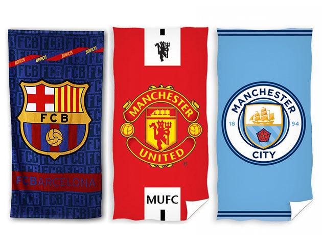 Törölközők futball szurkolói mintákkal - Barceolona, AC Milan, Manchester United FC és City, Real Madrid, ... stb.