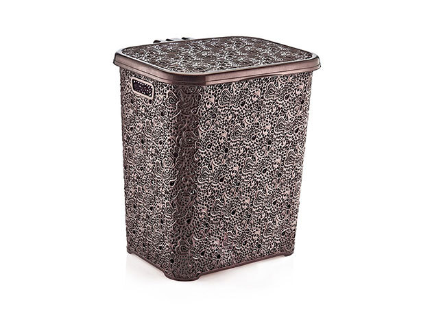 Csipkehatású 48 Literes Szennyes tartó barna színben (Mérete: 40*43*49 cm)