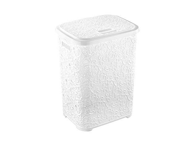 Csipkehatású 50 Literes Szennyes tartó fehér színben (Mérete: 55*44*34 cm)