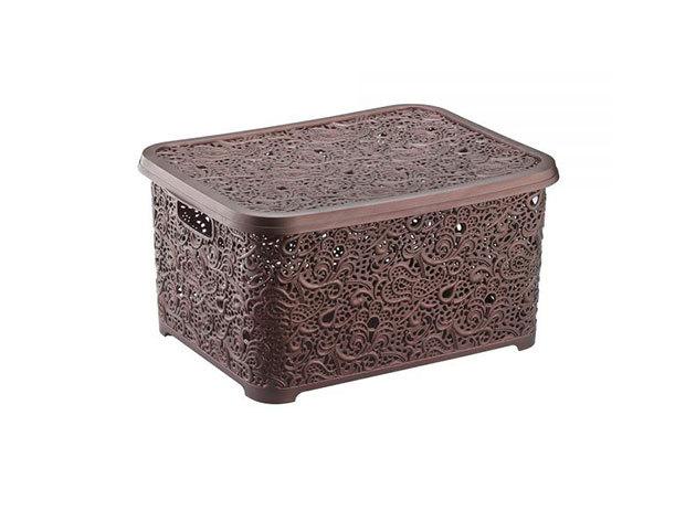 Csipkehatású 28 Literes nagy tároló doboz tetővel barna színben(Mérete: 44*33*23 cm)