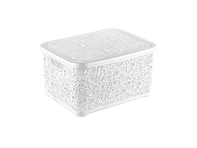 Csipkehatású 28 Literes nagy tároló doboz tetővel fehér színben(Mérete: 44*33*23 cm)