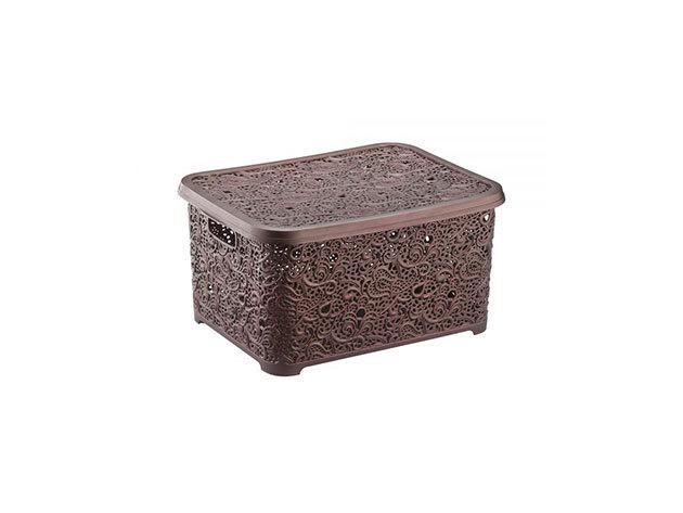 Csipkehatású 6 Literes kicsi tároló doboz tetővel barna színben (Mérete: 21*29*12,5 cm)
