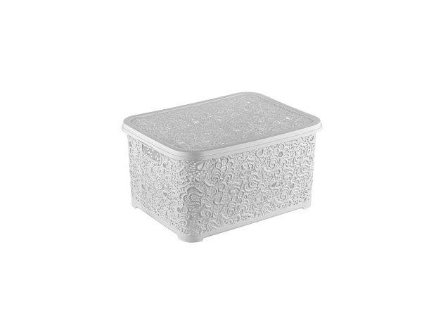 Csipkehatású 6 Literes kicsi tároló doboz tetővel fehér színben (Mérete: 21*29*12,5 cm)