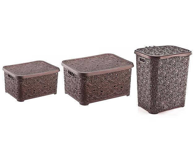 TRIO PACK! Csipkehatású tároló MIX barna színben (Szennyestartó+nagy doboz+kisdoboz)