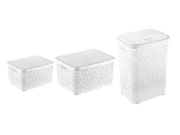 TRIO PACK! Csipkehatású tároló MIX fehér színben (Szennyestartó+nagy doboz+kisdoboz)