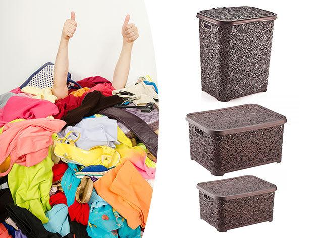 Csipkehatású tárolók több méretben, akár szettben is, a rendezett otthonért - ideális a fürdőszobába vagy a hálóba