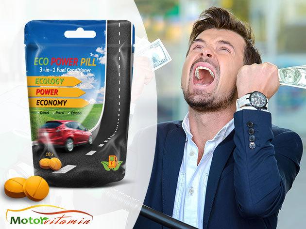 Égésjavító tabletta belsőégésű motorokhoz, mely csökkenti a fogyasztást és a káros-anyag kibocsátást / 10 db Eco Power Pill - minden benzin és dízelmotorhoz