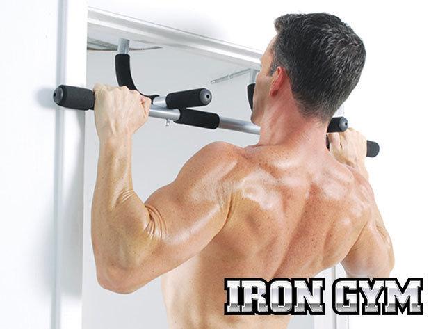 Iron Gym húzódzkodó rúd - ajtókeretre helyezhető eszköz, otthoni edzésekhez - tartós acélból, puha markolattal