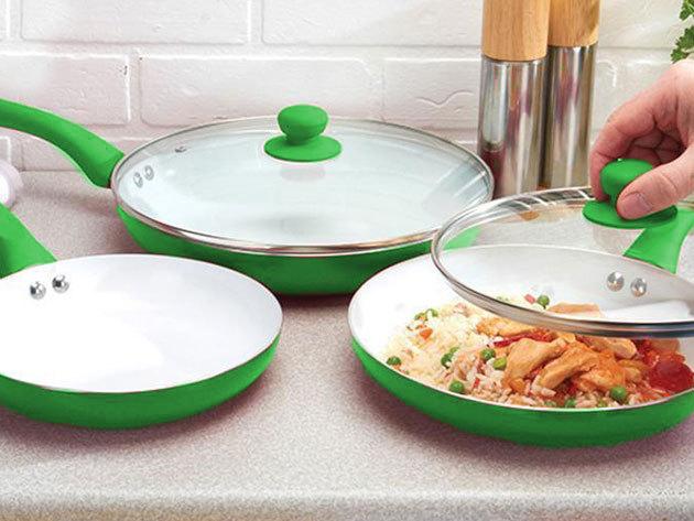 Kerámiabevonatos serpenyő készlet - 3 részes szett - Készíts egészséges ételeket minimális zsiradékkal!