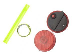 Kerékpáros Safety szett(2db érintésre összepöndörödő fényvisszaverő pánt + 1 db csipesszel rögzíthető macskaszem elemmel)