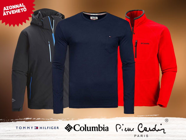 Tommy Hilfiger prémium pamut pulóver, Pierre Cardin férfi felsők, széldzsekik és COLUMBIA kabátok, polár felsők M-XXL méretekben / AZONNAL ÁTVEHETŐ!