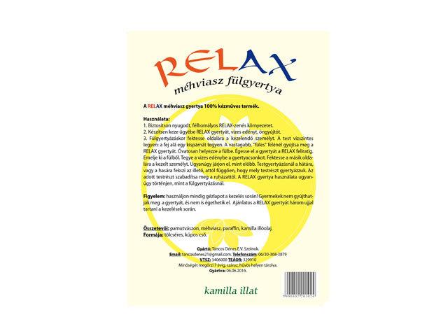 """""""RELAX"""" méhviasz fül-és testgyertya. 100% kézműves termék, 10db-os csomagolásban.Aromazáró tasakban, kamilla illattal"""