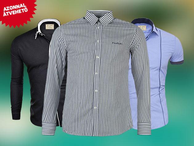 Férfi pamut ingek: Pierre Cardin és karcsúsított SERAPH márka Olaszországból  / divatos, hosszú és rövid ujjú fazonban, S-XL méretben - AZONNAL ÁTVEHETŐ!