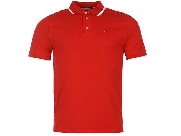 Tommy Hilfiger férfi galléros póló - red - M - AZONNAL ÁTVEHETŐ
