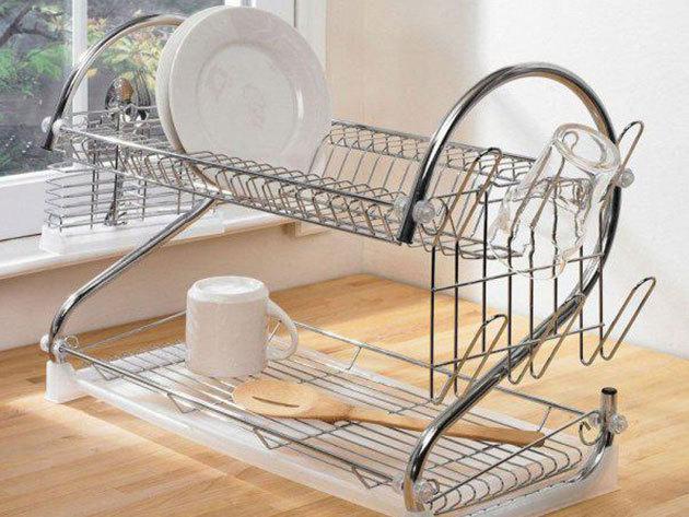 Fém konyhai csepegtető állvány tálcával - helytakarékos tároló a nedves edények és evőeszközök számára