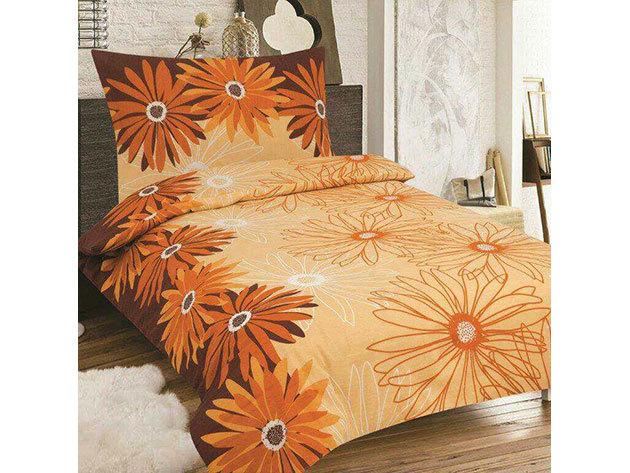 SMARTEX 7 részes Krepp ágynemű (Narancs nagy virágos)
