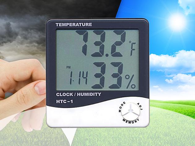 Digitális időjárás állomás - hőmérséklet és páratartalom mérő asztali óra / nagy LCD kijelző, hasznos funkciók