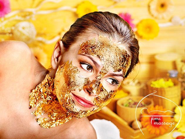 Aranykolloidos arcmasszázs a ráncok ellen, 40 percben, energetizáló fejmasszázzsal és stresszoldó szilfa virágesszenciával