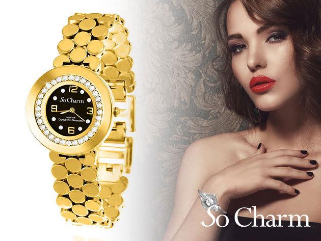 Női karóra Swarovski kristályokkal díszítve, elegáns, kifinomult megjelenéssel - 'So Charm' (francia márka)