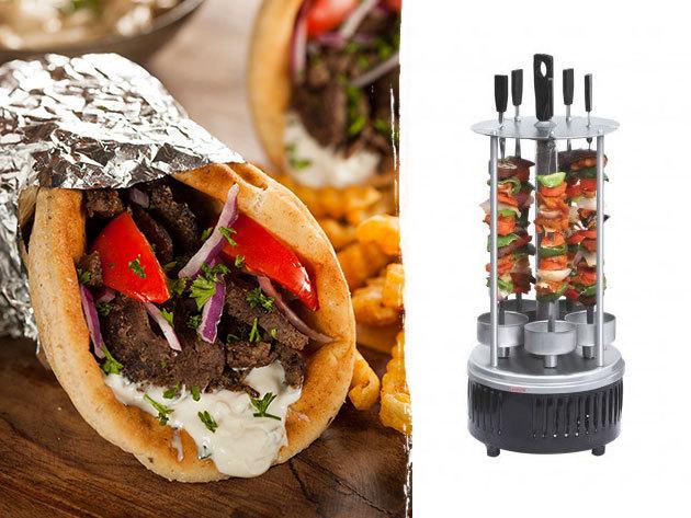 Elektromos gyros és saslik sütő - kompakt készülék 6 db forgó nyárssal, az utolérhetetlen finomságok készítéséhez