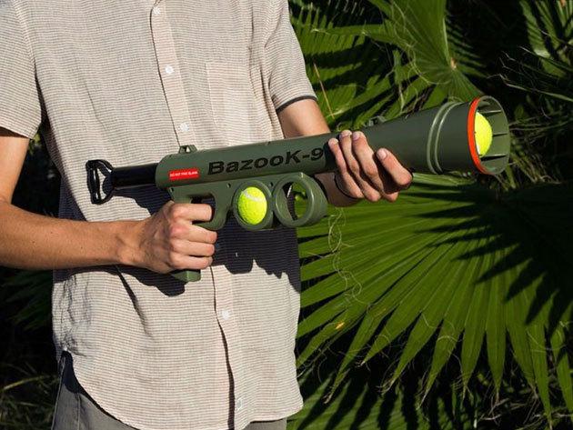 BazooK 9 labda kilövő (teniszlabda méret) 2 db lasztival - élménydús játékot biztosít kutyusoddal