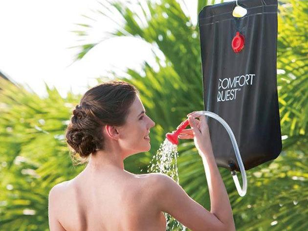 Kemping zuhany - 20 literes fekete színű 'mobil zuhanyzó' sátorozáshoz, fesztiválozáshoz