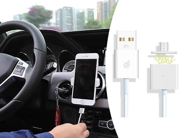 Mágneses USB kábel adapterrel - bármely microUSB porttal rendelkező mobillal használható / praktikus, az adaptert a telefonodban hagyhatod porvédőként