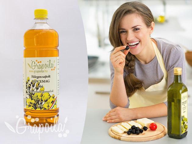 Hidegen sajtolt repcemagolaj (1000 ml) a minőség jegyében, a Grapoila-tól / számos jótékony hatással a szépségápolásban is