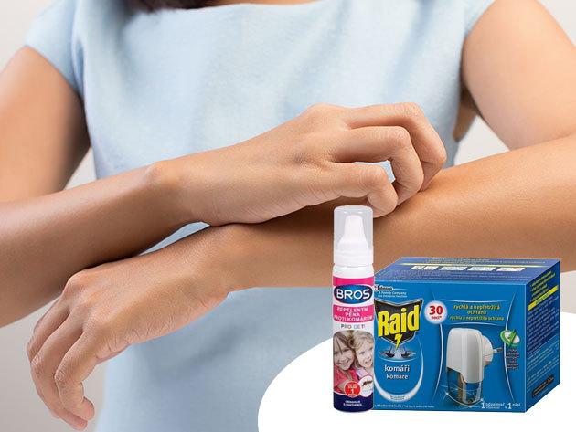 Raid szúnyogirtó készülék utántöltővel (21ml) és Bros szúnyogriasztó hab gyerekeknek (90ml)